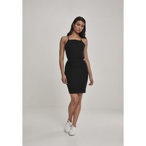 Urban Classics Ladies Short Spaghetti Pique Dress black