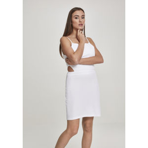 Urban Classics Ladies Short Spaghetti Pique Dress white