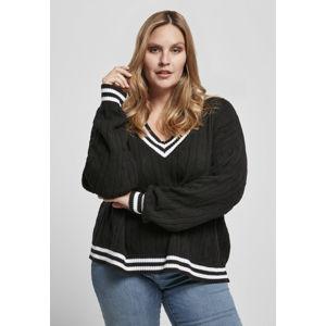 Urban Classics Ladies Short V-Neck College Sweater black/white