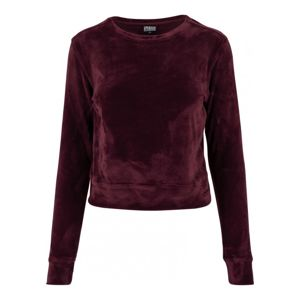 Urban Classics Ladies Short Velvet Crew burgundy