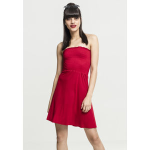 Urban Classics Ladies Smoke Bandeau Dress fire red