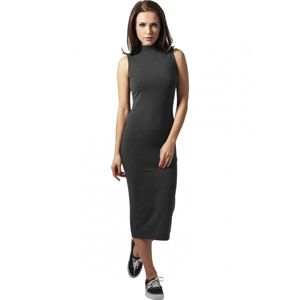 Urban Classics Ladies Stretch Jersey Turtleneck Dress charcoal