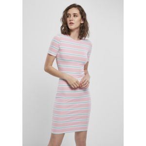 Urban Classics Ladies Stretch Stripe Dress girlypink/oceanblue