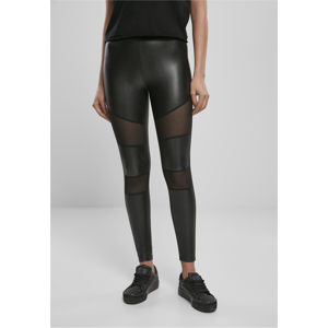 Urban Classics Ladies Tech Mesh Faux Leather Leggings black