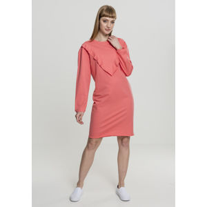 Urban Classics Ladies Terry Volant Dress coral