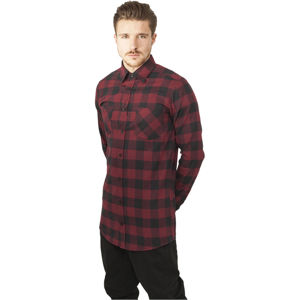 Urban Classics Long Checked Flanell Shirt blk/burgundy