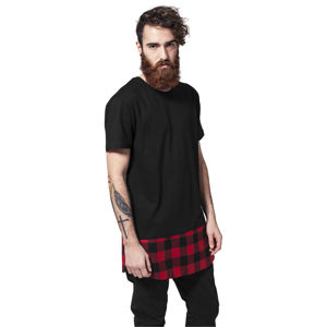 Urban Classics Long Shaped Flanell Bottom Tee blk/blk/red