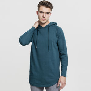 Mikina Urban Classics Long Shaped Terry Hoody teal