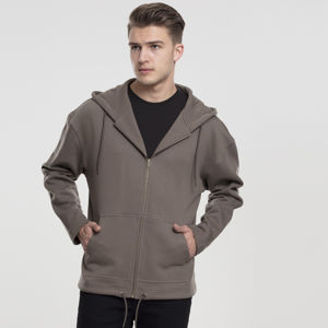 Mikina Urban Classics Long Sweat Zip Hoody army green