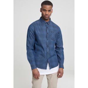 Urban Classics Printed Check Denim Shirt darkblue wash