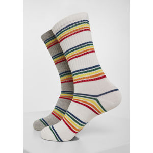 Urban Classics Rainbow Stripes Socks 2-Pack grey/white