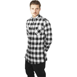 Urban Classics Side-Zip Long Checked Flanell Shirt black/white