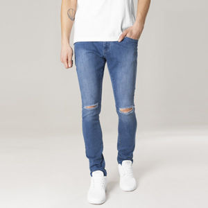 Urban Classics Slim Fit Knee Cut Denim Pants blue washed