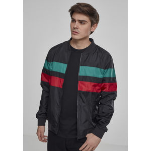 Urban Classics Striped Nylon Jacket black/firered/green