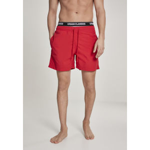 Urban Classics Two in One Swim Shorts firered/wht/blk